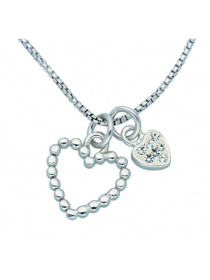 1001 Diamonds Damen Silberschmuck 925 Silber Anhänger mit Zirkonia 45 cm Ø 0,85 mm, silber