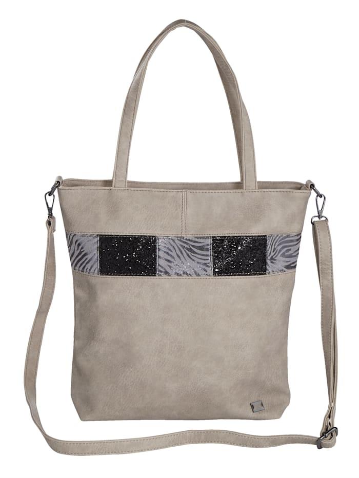 BERNARDO BOSSI Väska med glittrande effekter, Ljusgrå