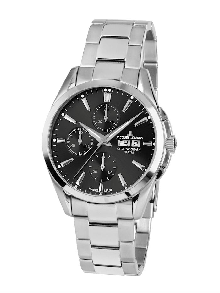 Jacques Lemans Herren-Uhr-Automatik-Chronograph Serie: Derby Automatic, Kollektion: Classic: 1- 1925E, Silberfarben