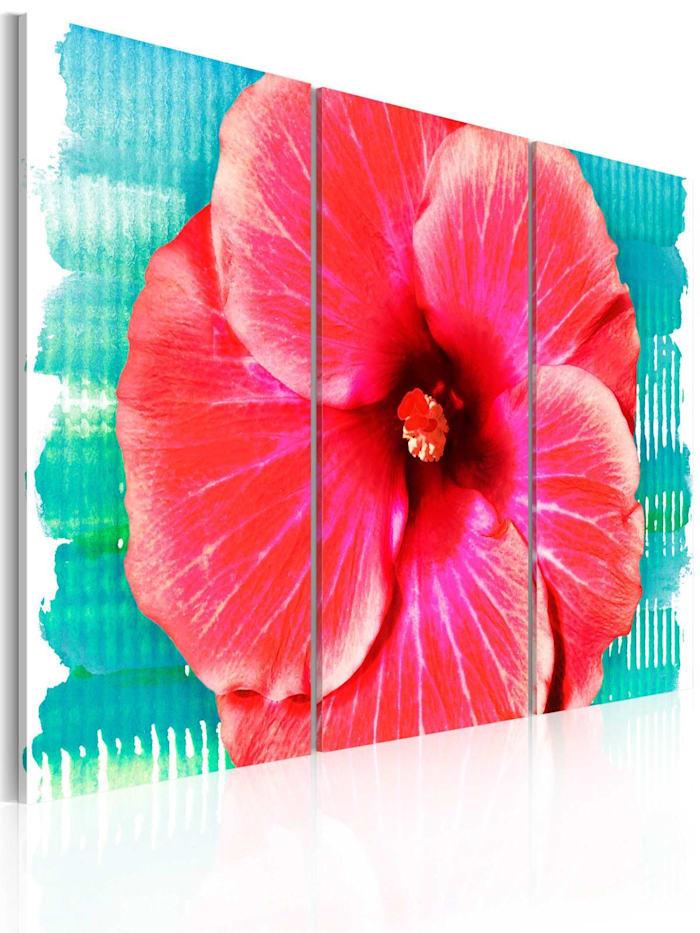 artgeist Wandbild Hawaiian flower - triptych, rosa,Rot,Himmelblau,Weiß