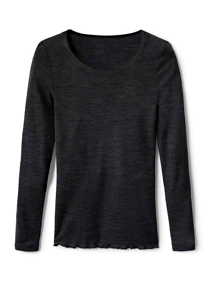 Calida Langarm-Shirt aus Wolle-Seide Made in Europe, black