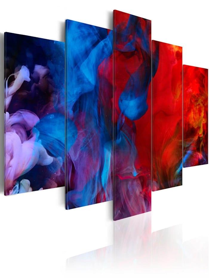 artgeist Wandbild Dance of Colourful Flames, Dunkelblau,Rot,Violett