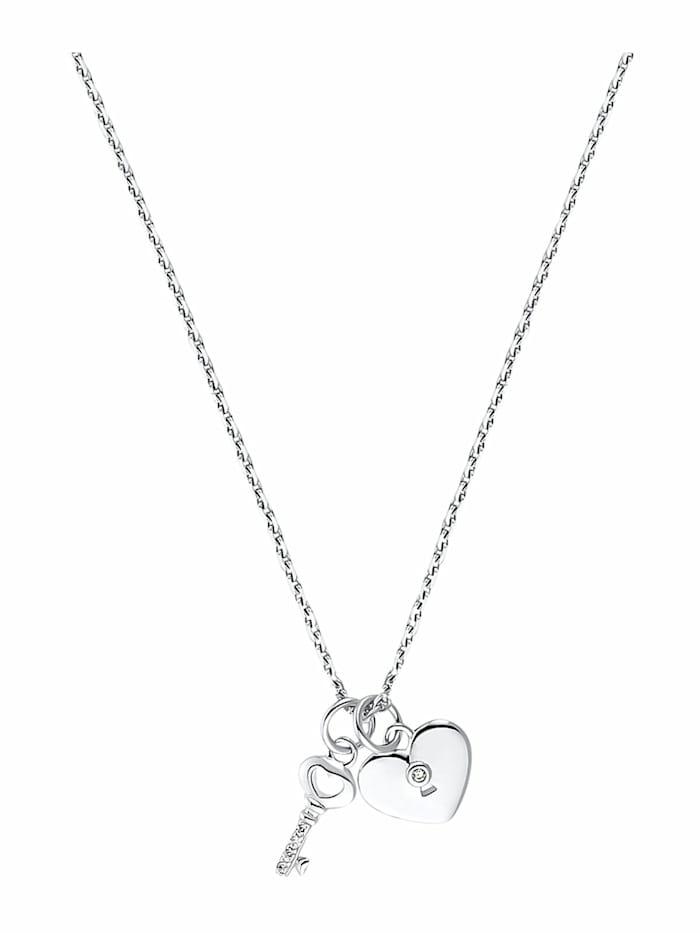 amor KEY & HEART Kette mit Anhänger für Damen, Sterling Silber 925, Zirkonia Schlüssel, Silber