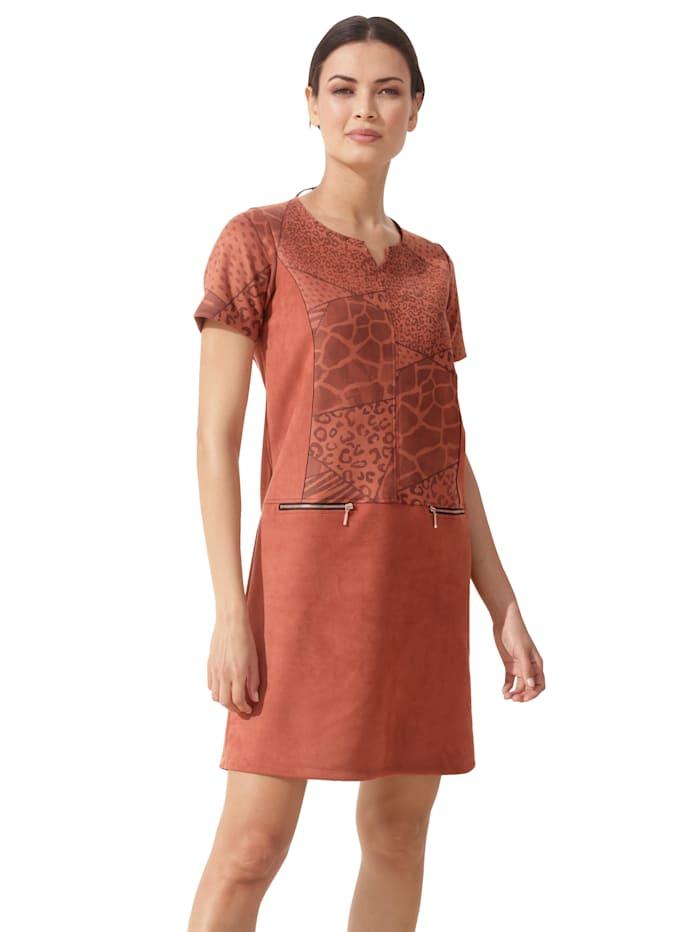 AMY VERMONT Kleid mit Animal-Muster im Oberteil, Rost