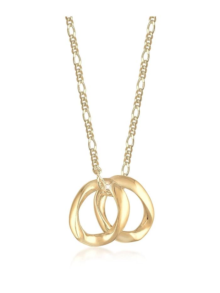 Elli Halskette Layering Zwei Anhänger Organic Figaro 925 Silber, Gold