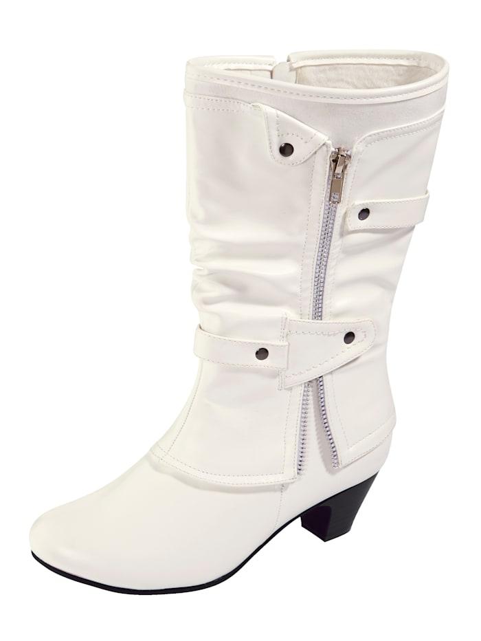 Liva Loop Stiefel mit Zierreißverschluss und dezenter Nietenapplikation, Weiß