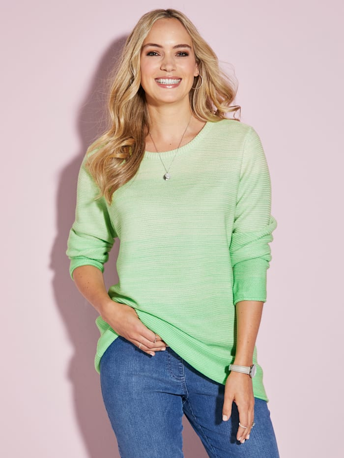 MIAMODA Pullover mit femininem Ausschnitt, Limettengrün