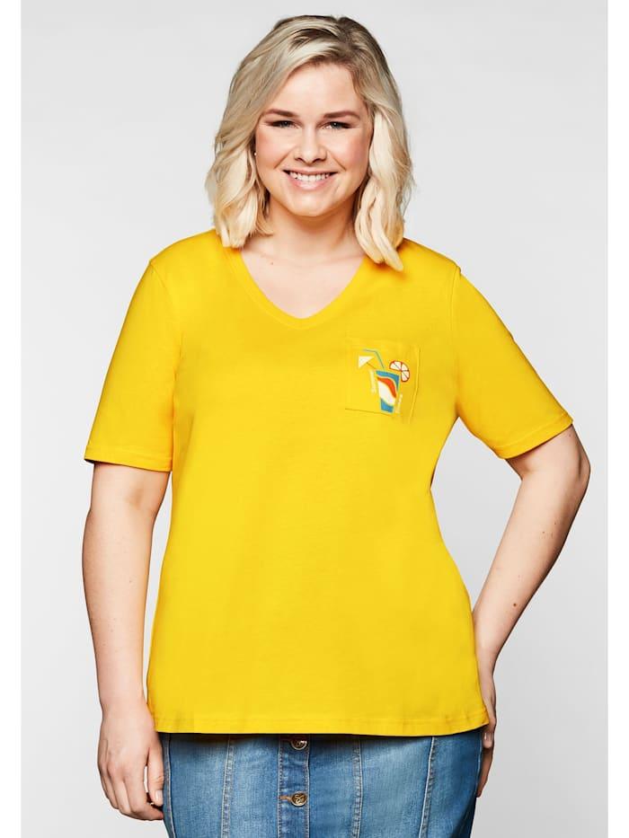 Sheego Sheego T-Shirt mit V-Ausschnitt und kleinem Druck, gelb