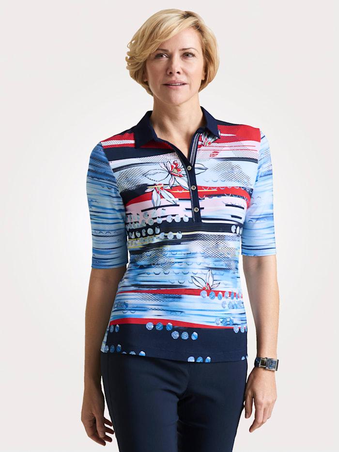 Rabe Poloshirt mit grafischem Streifendessin, Marineblau/Rot