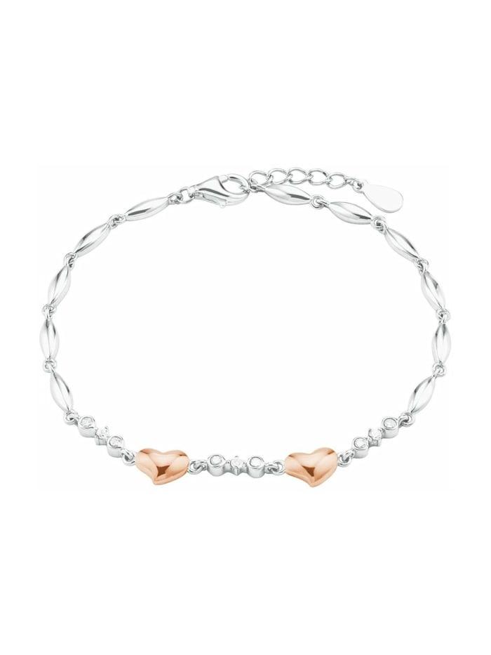amor Armband für Damen, Sterling Silber 925, Zirkonia Herz, Bicolor