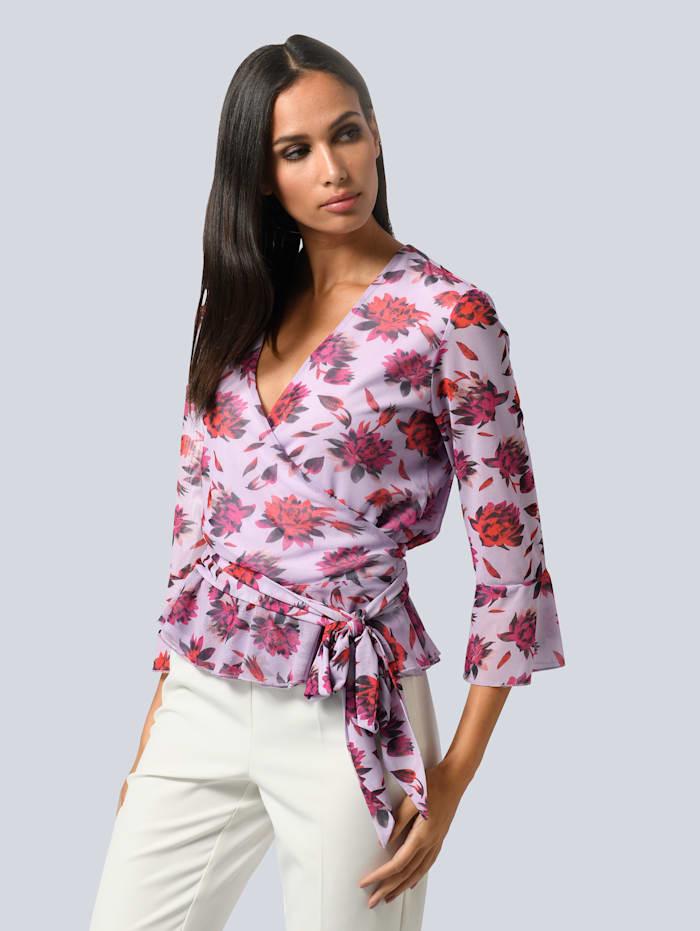 Alba Moda Shirt im Alba Moda exklusivem Dessin, Flieder/Pink/Schwarz