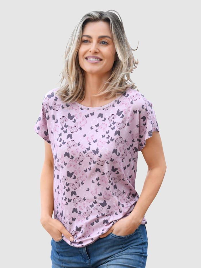 Dress In Shirt mit schönem Schmetterlingsdruck, Altrosa