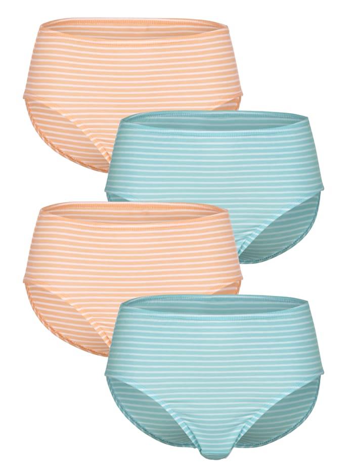 Blue Moon Taillenslips im 4er Pack mit garngefärbtem Ringel, Türkis/Weiß/Apricot