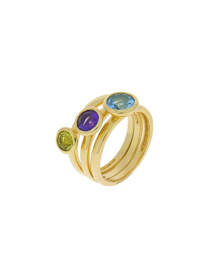 ZEEme Ring-Set 925/- Sterling Silber Blautopas beh. blau Glänzend 1,50 ct., gelb