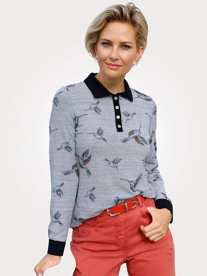 Poloshirt mit Kolibri-Druck