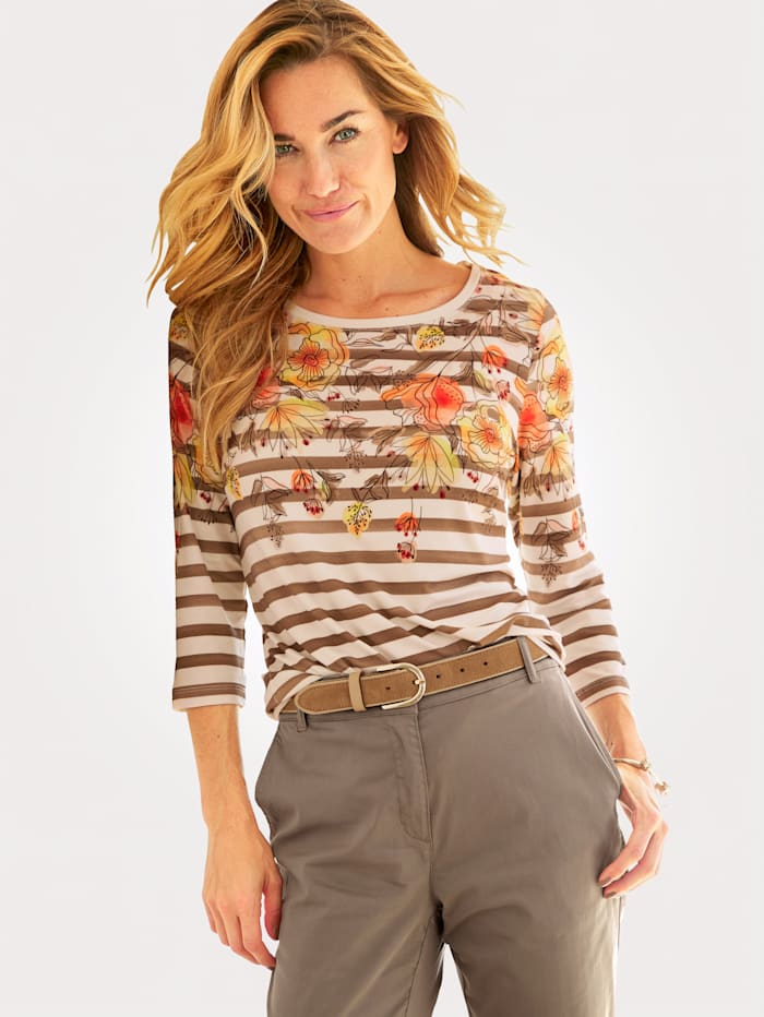 MONA Top with a painterly floral print, Ecru/Taupe/Multi