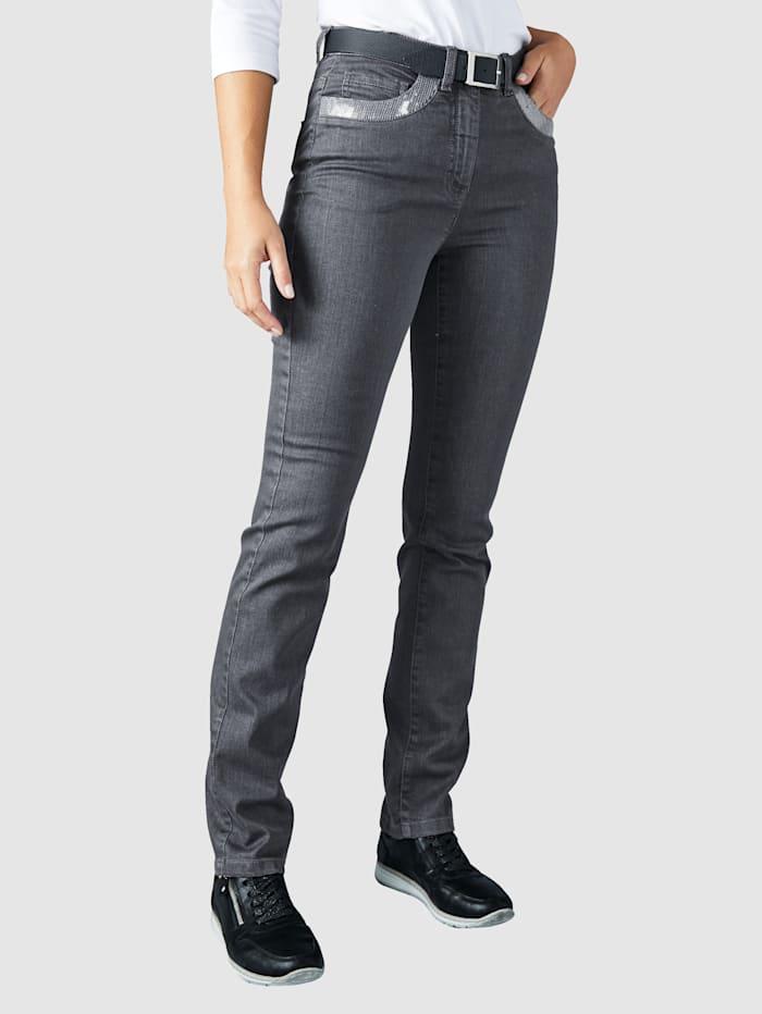 Paola Jeans mit Paillettendekoration, Dark grey