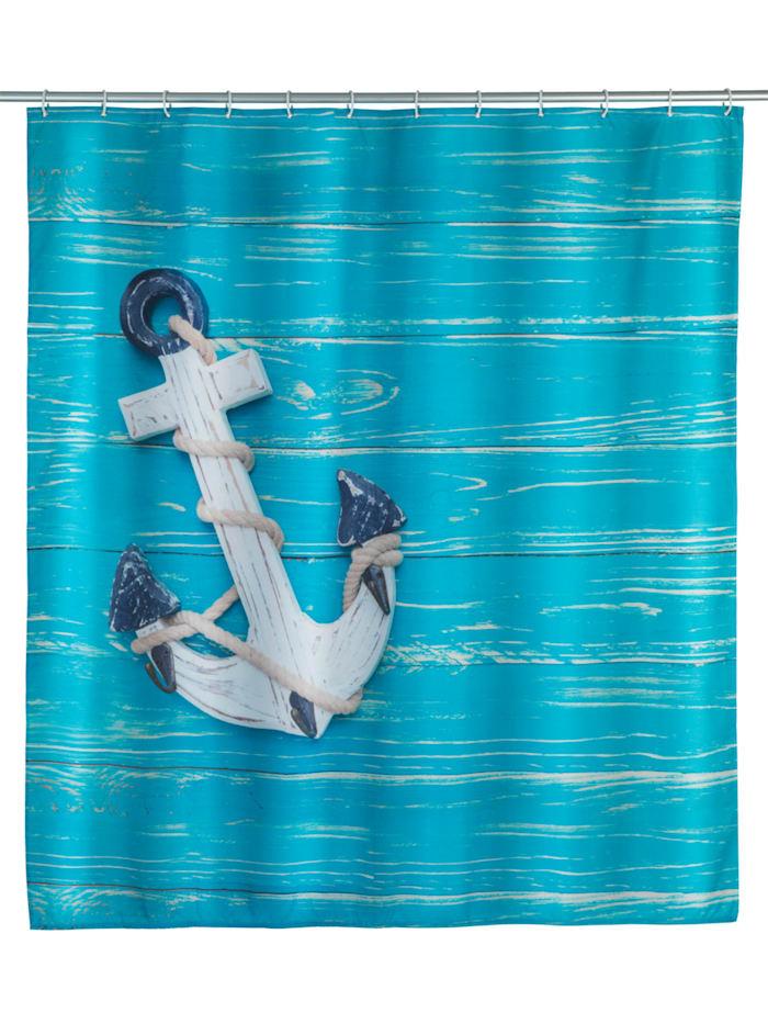 Wenko Duschvorhang Aboard, Textil (Polyester), 180 x 200 cm, waschbar, Mehrfarbig