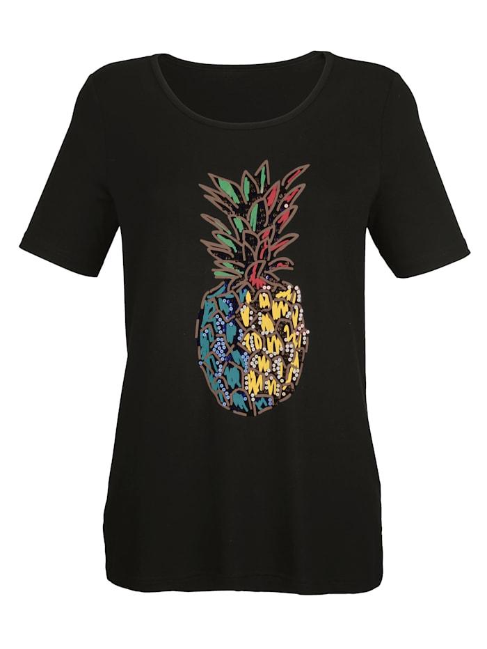 Shirt met ananasprint en pailletten