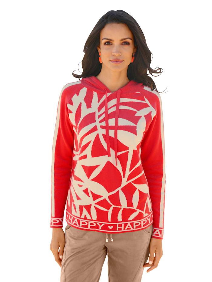AMY VERMONT Pullover mit Logo Tape und Kapuze, Orange/Taupe