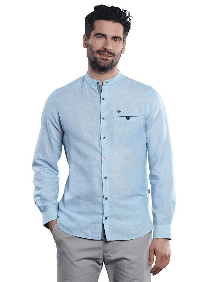 Engbers Langarm-Hemd aus Leinenmix, Brilliantblau