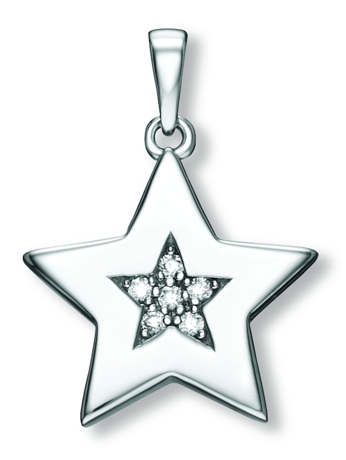 One Element Damen Schmuck Anhänger Stern aus 925 Silber Zirkonia, silber