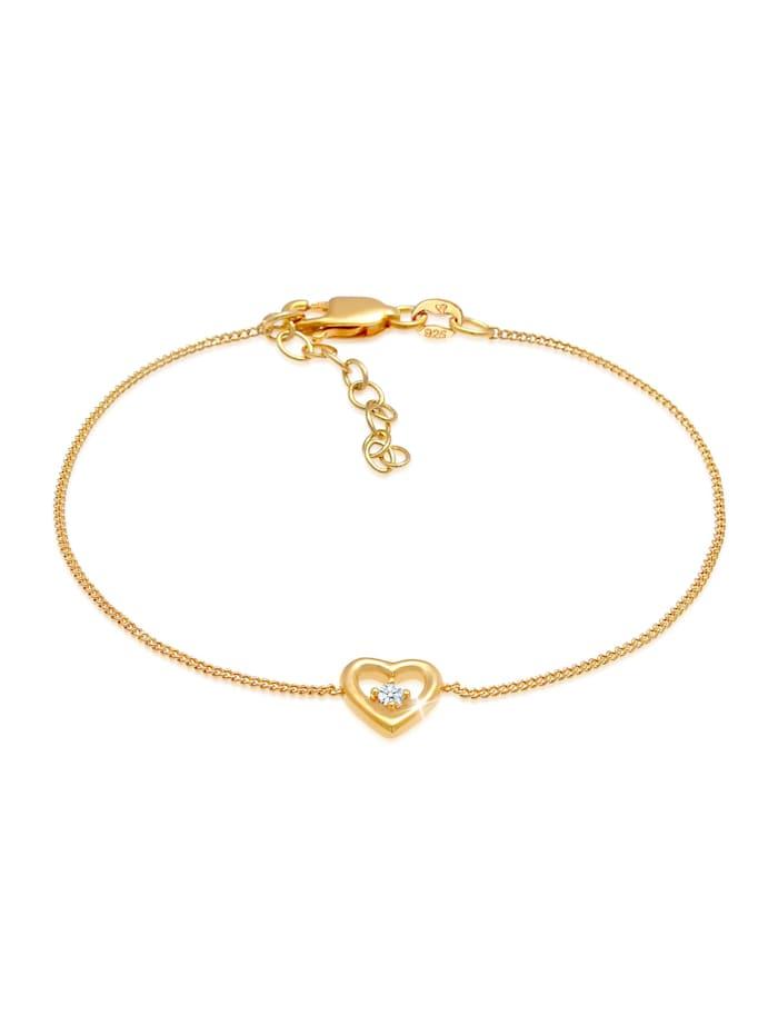 DIAMORE Armband Herz Liebe Romantik Diamant (0.03 Ct) 925 Silber, Gold