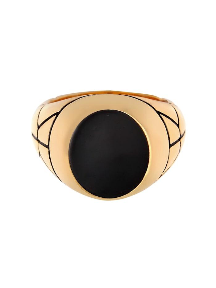 Ring Basic Herren Siegelring Oval Emaille 925Er Silber