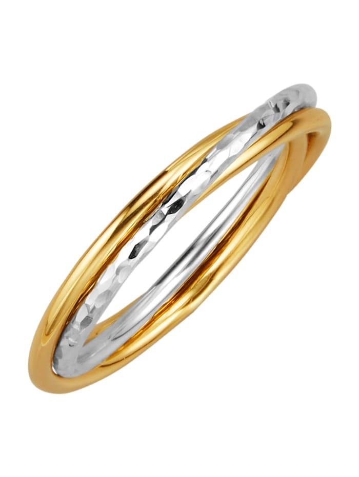 Ring med tre omslingrade ringskenor, Guldfärgad