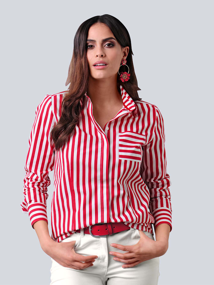 Alba Moda Bluse mit Streifenmuster, Rot/Off-white