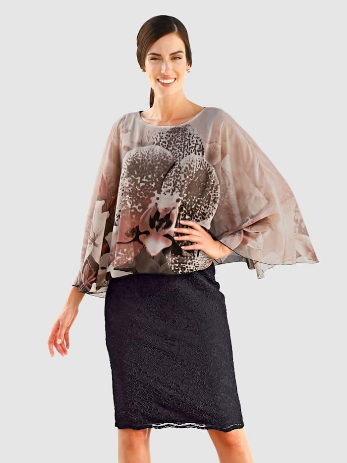 Paola Kleid mit floralem Druck, Schwarz