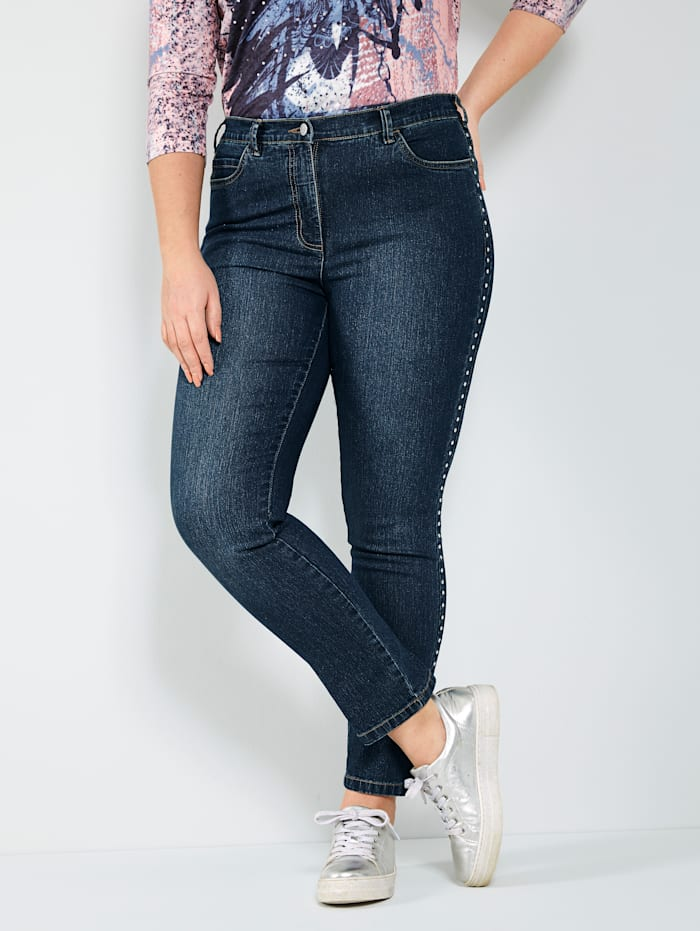 MIAMODA Jeans mit seitlichem Nietenband, Dark blue
