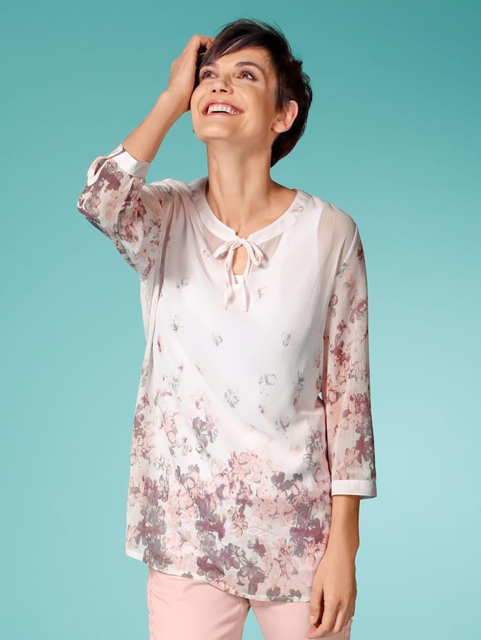 Laura Kent Tunikabluse mit zartem Blütendruck, Rosé