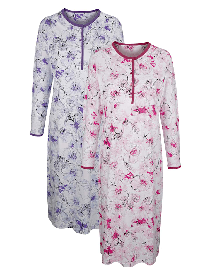 Harmony Nachthemden mit unifarbener Paspelierung, Lila/Fuchsia/Weiß