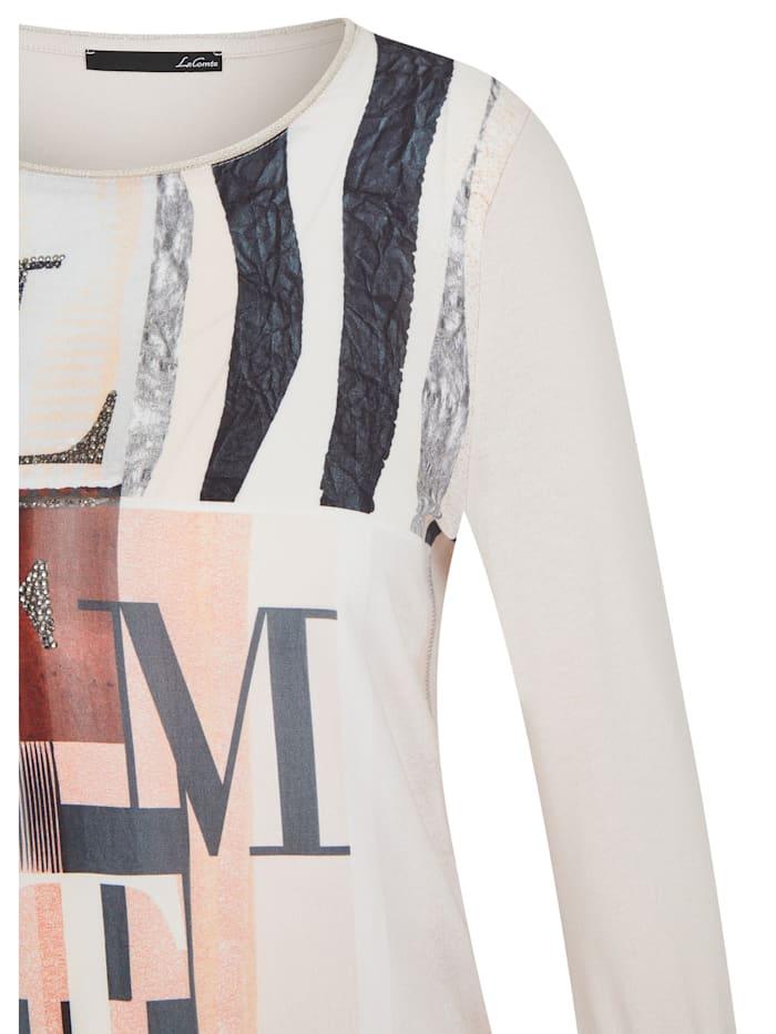 Shirt mit abstraktem Front-Print und Glitzersteinen