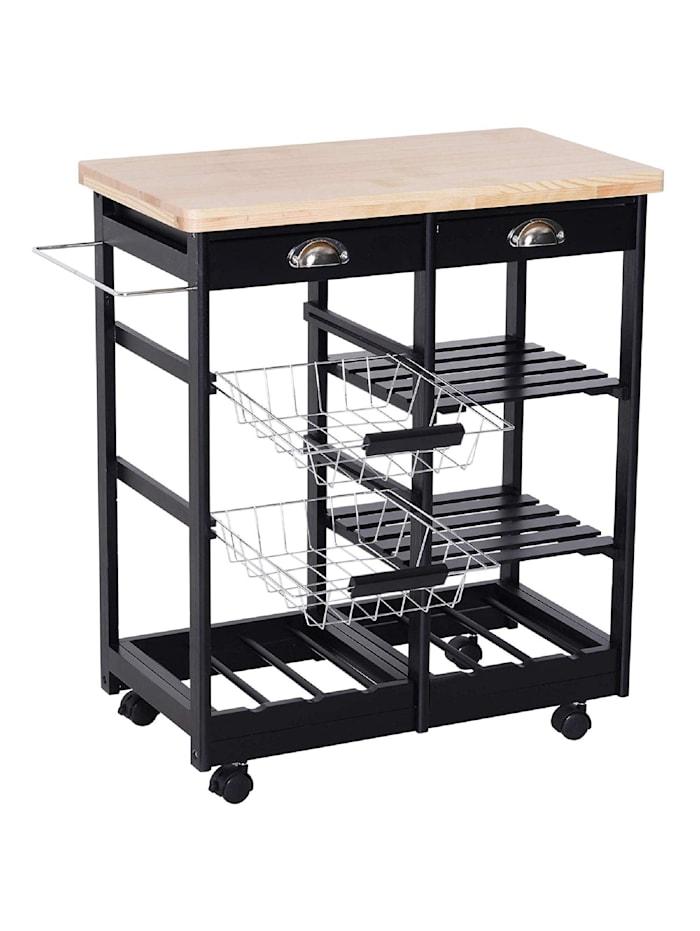 HOMCOM Küchenrollwagen mit Korb, Schublade, Weinablage, schwarz