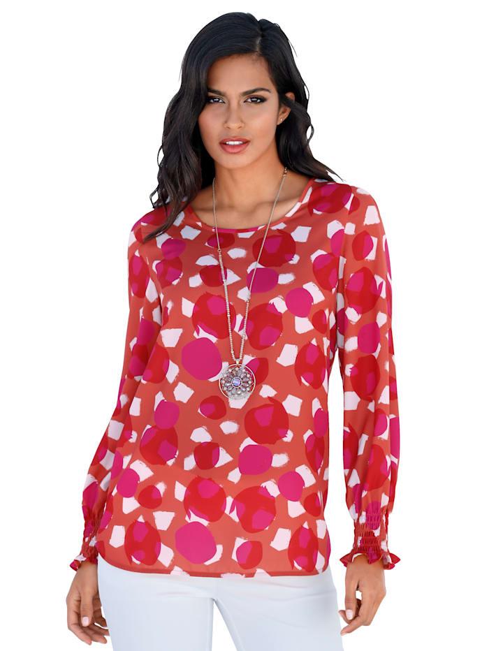 AMY VERMONT Blouse met helder gekleurde print, Oranje/Pink