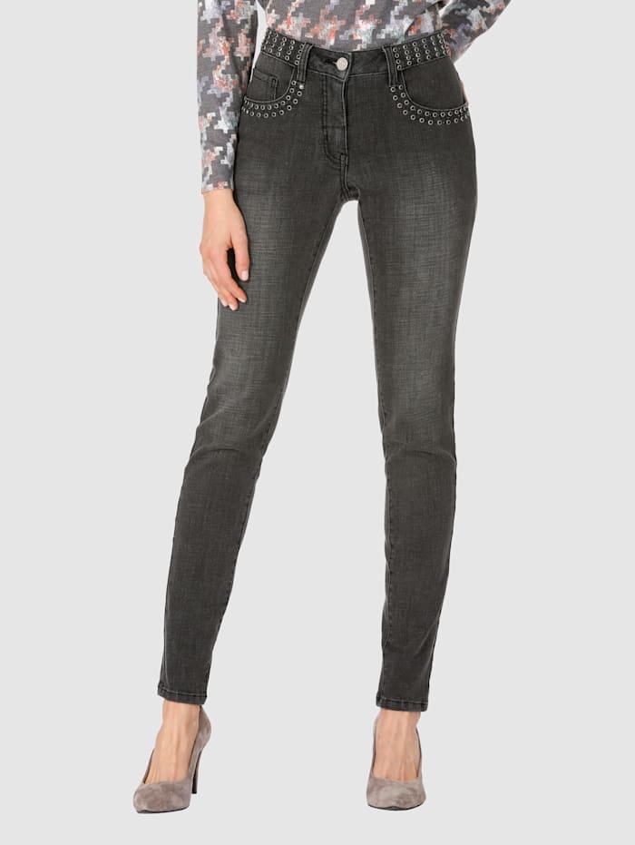 AMY VERMONT Jeans mit Strasssteindekoration, Grau