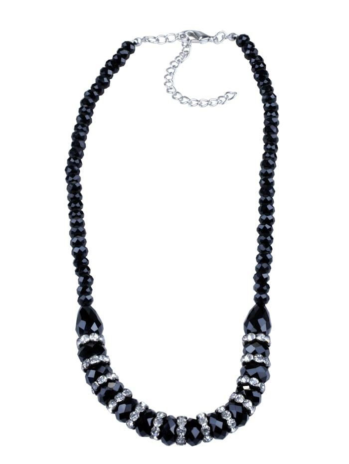 Collezione Alessandro Kurze Kette Shiny mit geschliffenen Glasperlen, schwarz