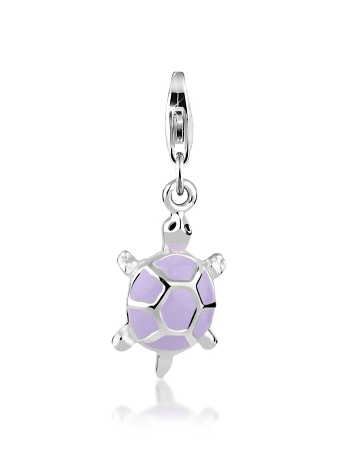 Nenalina Charm Anhänger Schildkröte Emaille Pastell 925 Silber, Silber