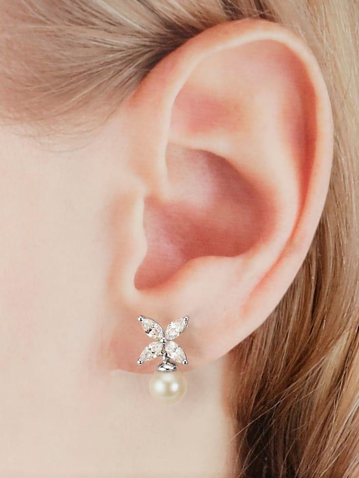 Boucles d'oreilles avec perles de culture d'eau douce, Blanc